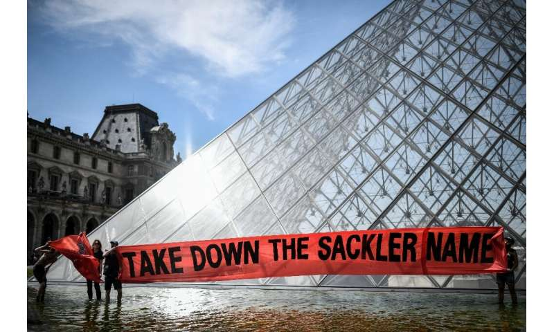 A protest outside the Louvre museum in Paris calling for it to cut ties with the Sacklers