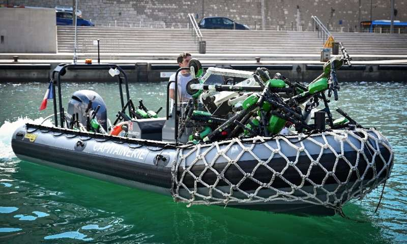 A raft with electric scooters recovered in July from the sea near Marseille, one of several French cities grappling with e-scoot