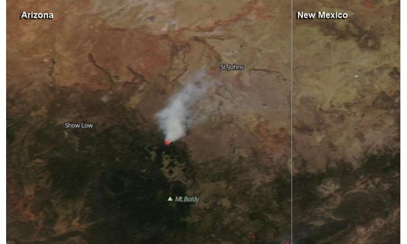 Arizona's Whiting Knoll fire seen by NASA-NOAA satellite