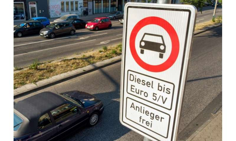 A road sign in Hamburg warns motorists that older diesel veichles are banned from using this stretch of the road in the northern