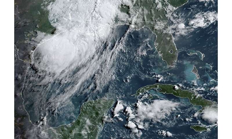 A satellite image obtained from NOAA/RAMMB, shows major storm Barry in the Gulf of Mexico, on July 14, 2019