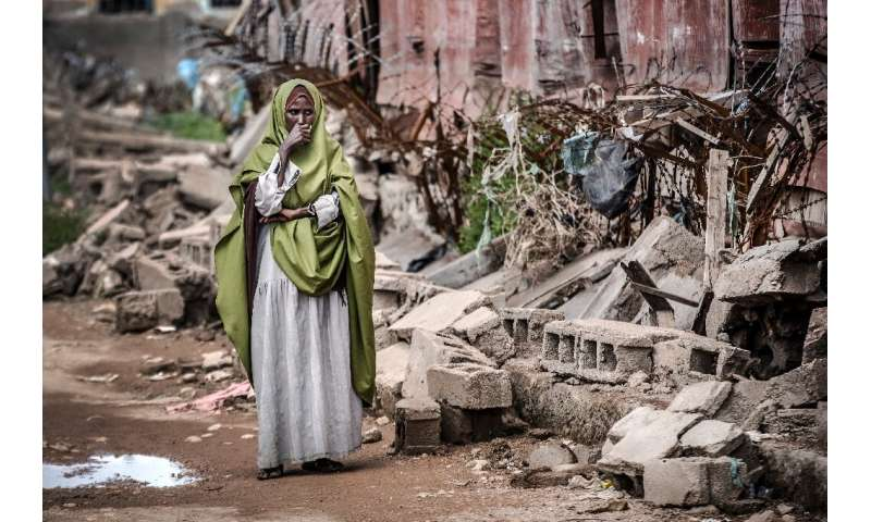 A school was devastated by floods in the  Beledweyne in central Somalia