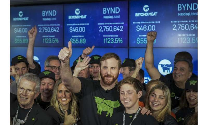 Beyond Meat CEO Ethan Brown after the company's stock began trading on Wall Street—since then it has multiplied in value many ti
