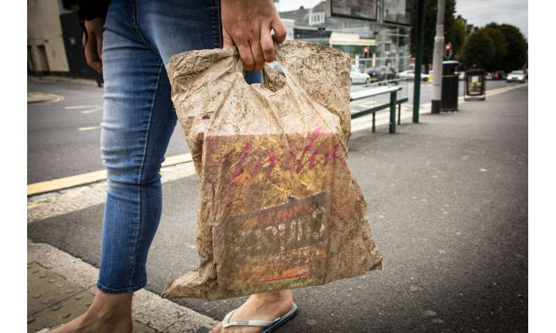 Biodegradable bags can hold a full load of shopping after 3 years in the environment