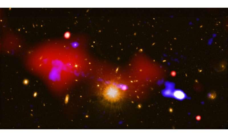 Black hole nurtures baby stars a million light years away