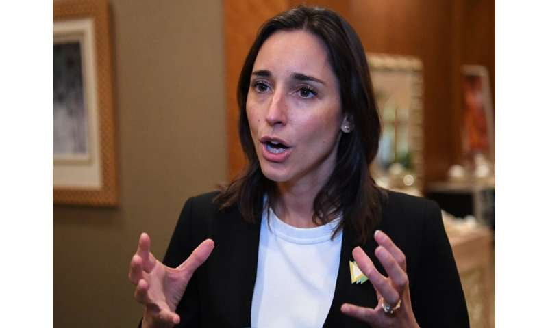 Brune Poirson, France's Secretary of State for the Ecological and Inclusive Transition, speaks on the sidelines of the Abu Dhabi