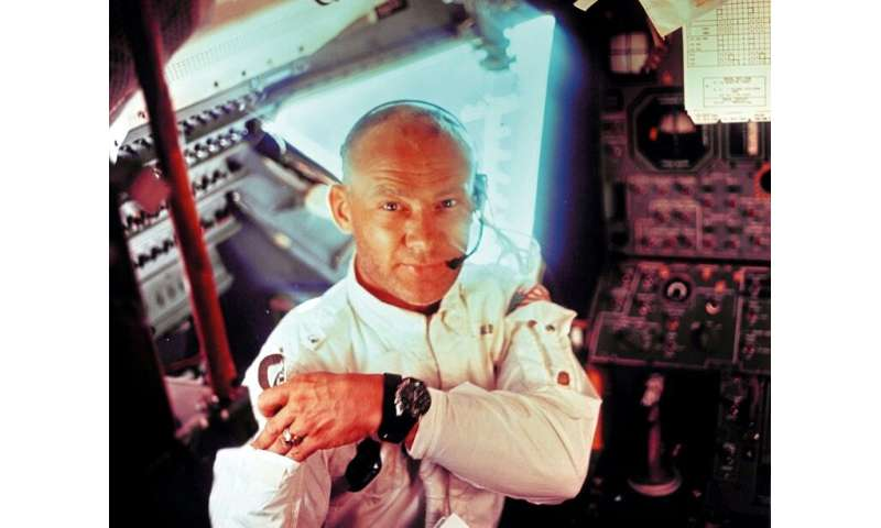 Buzz Aldrin is seen here after spending 2.5 hours on the Moon