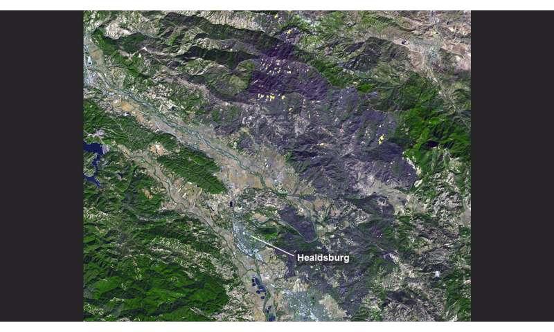 California's Kincade fire burn scar seen from space