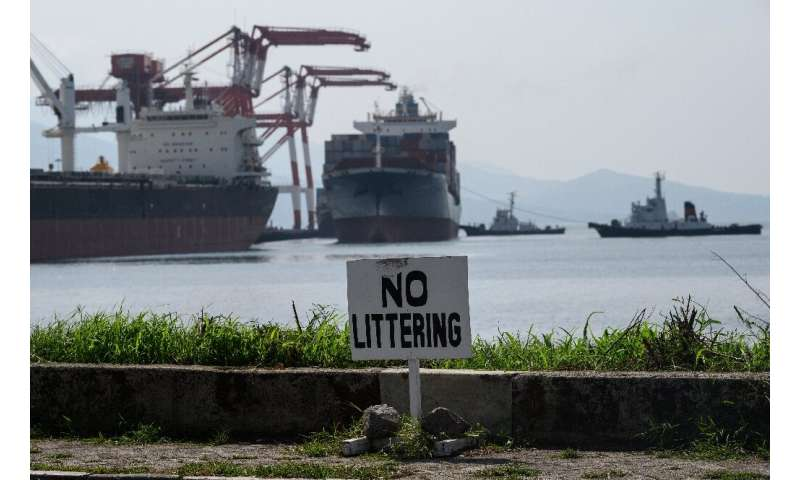 Container ship MV Bavaria, hired by Canada to take its trash back, arrives at Subic Bay in the Philippines