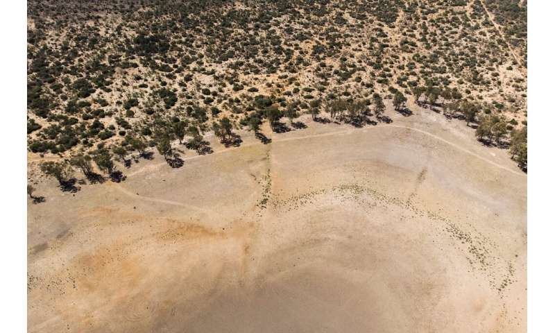 Dessicated: An aerial view of Adelaide Dam in Eastern Cape Province, gripped by a brutal drought