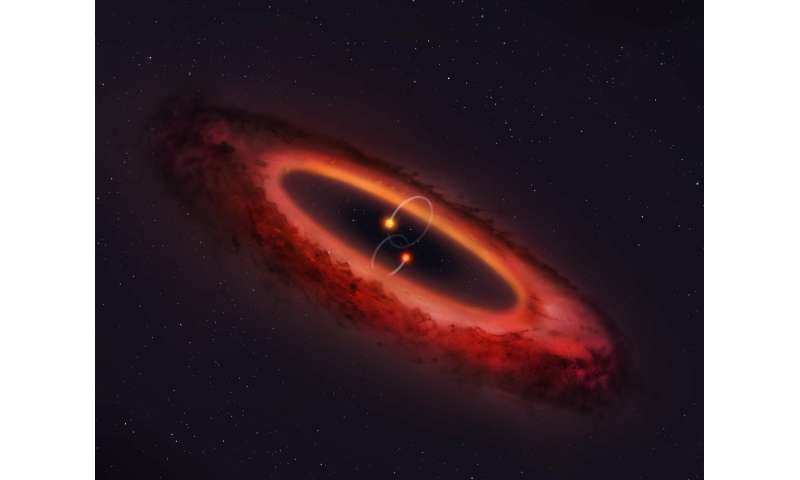 Double star system flips planet-forming disk into pole position