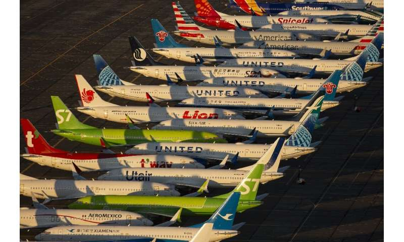 Dozens of grounded Boeing 737 MAX aircraft are parked on the apron in Washington state