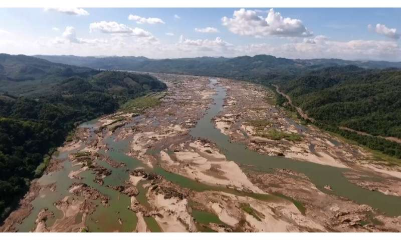 Drone footage of the Mekong in Sungkom district in Thailand's Nong Khai province—show the river reduced to a trickle in places