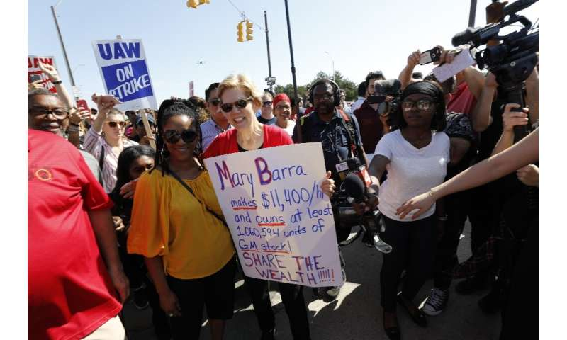Elizabeth Warren has been among the Democratic presidential hopefuls to appear with United Auto Workers since the strike began l