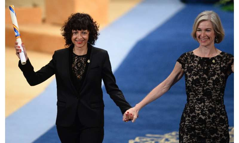 Emmanuelle Charpentier (L) and Jennifer Doudna helped revolutionize biomedicine with their work developing CRISPR-based gene edi