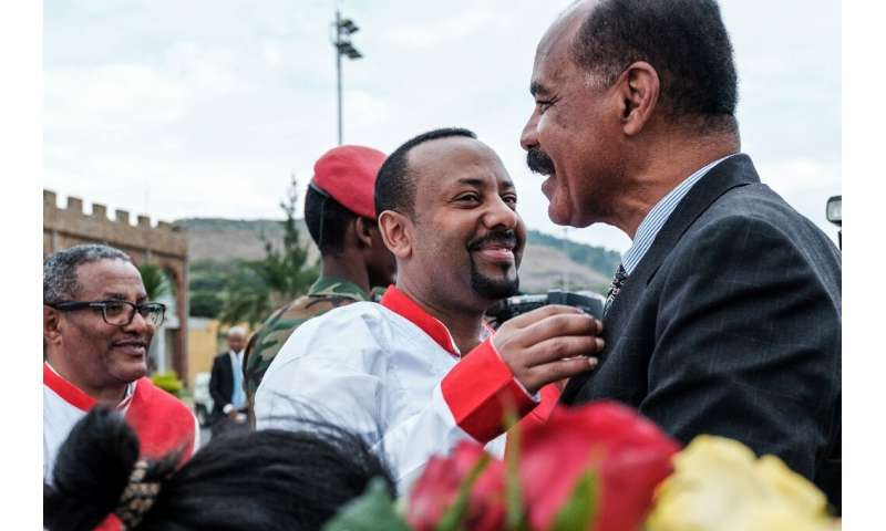Ethiopia's premier Abiy Ahmed (C) and Eritrean President Isaias Afwerki ended a 20-year-old stalemate between the rival countrie