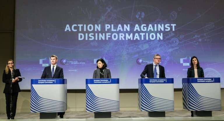 """European Commission officials are campaigning against """"disinformation"""" which they see as a threat in election campaign"""