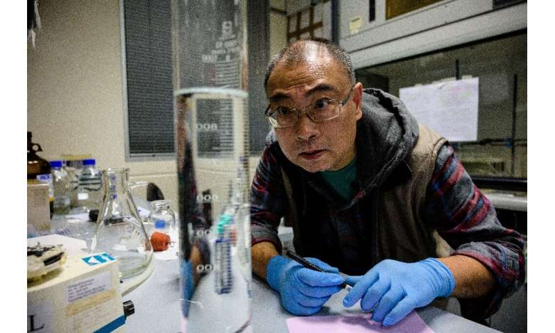 Former investment banker turned scientist Yan Wa-tat, 58, monitors the amount of chlorophyll in a sample of seawater taken from