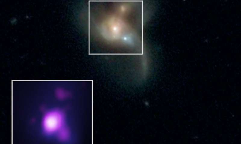Found: three black holes on collision course