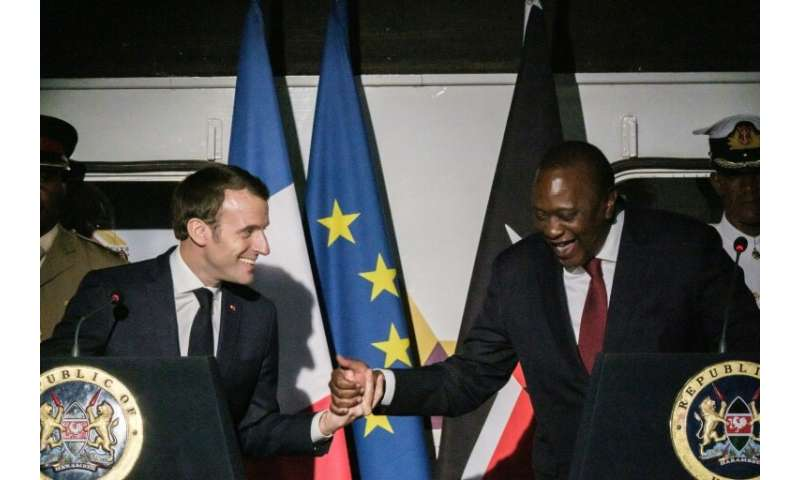 French President Emmanuel Macron and Kenyan counterpart Uhuru Kenyatta were among several heads of state in Nairobi for the four