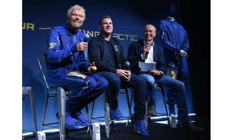 From left to right, Richard Branson,  founder of Virgin Galactic, Kevin Plank,  head of Under Armour and Stephen Attenborough, V