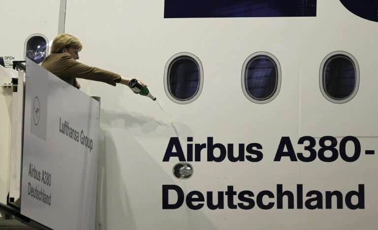 German Chancellor Angela Merkel christens an Airbus A380 aircraft in 2015