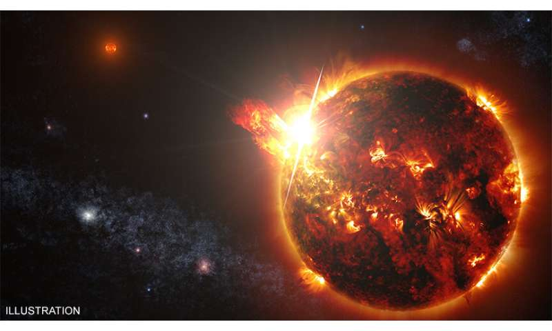 Giant stellar eruption detected for the first time