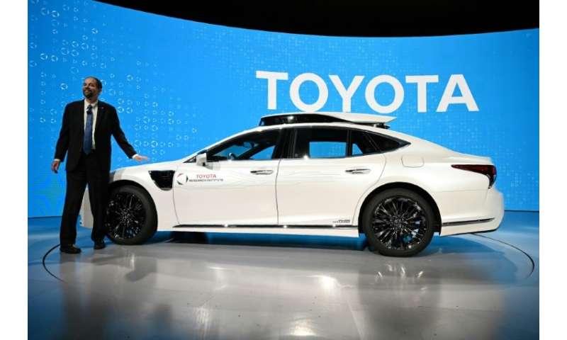 Gill Pratt, CEO Toyota Research Institute, unveils a new semi-autonomous P4 prototype based on the current Lexus LS500h sedan us