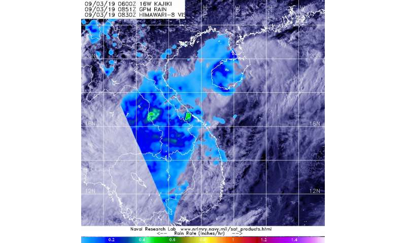GPM analyzes tropical depression Kajiki's rainfall over Vietnam and Laos