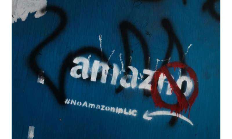Graffiti in Long Island City against Amazon, which had said it would build a headquarters there