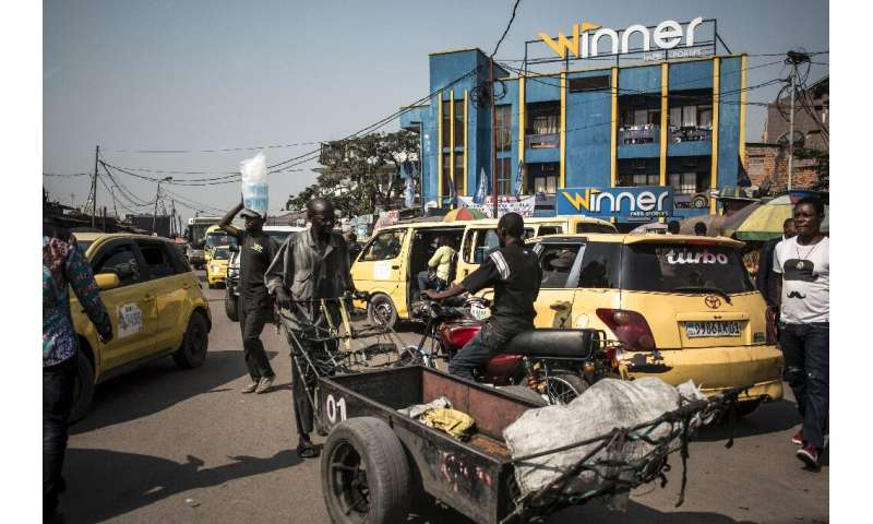 Gridlocked: Yellow taxis clog the streets of Kinshasa