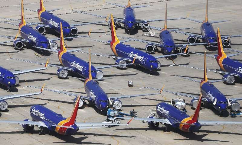Grounded Southwest Airlines Boeing 737 MAX aircraft parked at Southern California Logistics Airport in Victorville, California