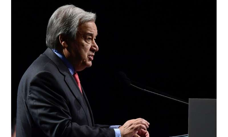Guterres worked through a long list of climate data to reinforce his message