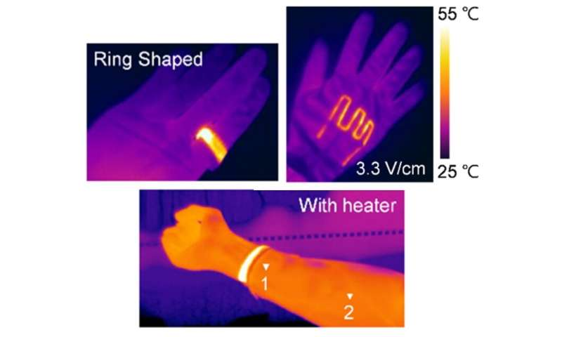 Heated crystal flakes can be sewn into clothing for thermotherapy
