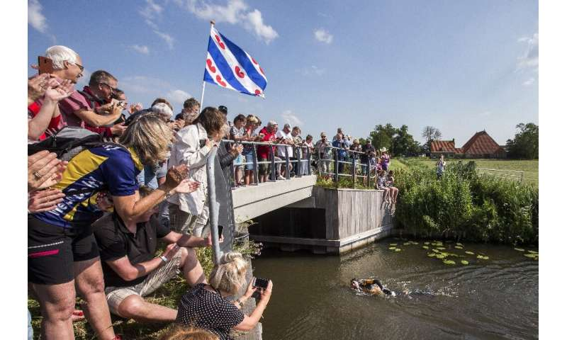 He passed the 172-kilometre mark of the course that criss-crosses northern Friesland province on Monday morning