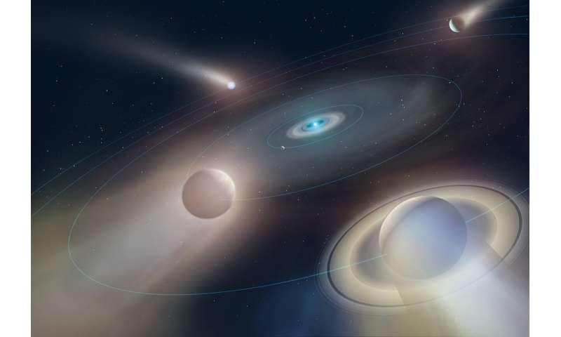 Hidden giant planet revealed around tiny white dwarf star