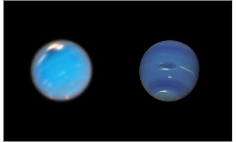 Hubble captures birth of giant storm on Neptune