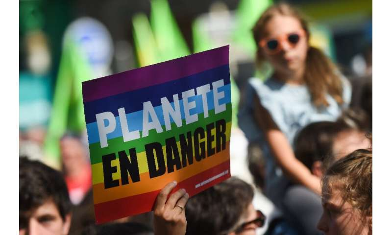 Hundreds of protesters gathered in Paris Saturday for a climate demonstration