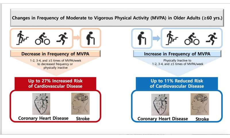 Increased exercise over the age of 60 reduces risk of heart disease and stroke
