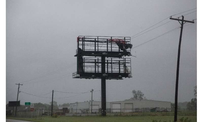 In Jeanerette, Louisiana, Tropical Storm Barry's strong winds tore apart a billboard on July 13, 2019