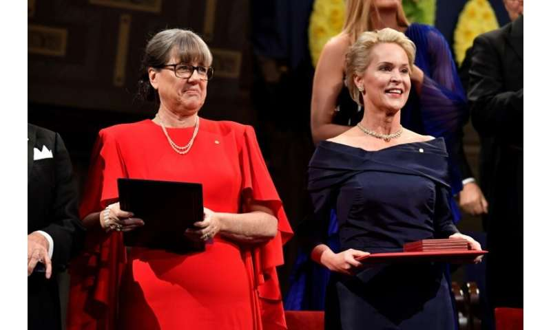 In October, Canadian scientist Donna Strickland (L) became just the third woman in history to win the Nobel Physics Prize. US bi