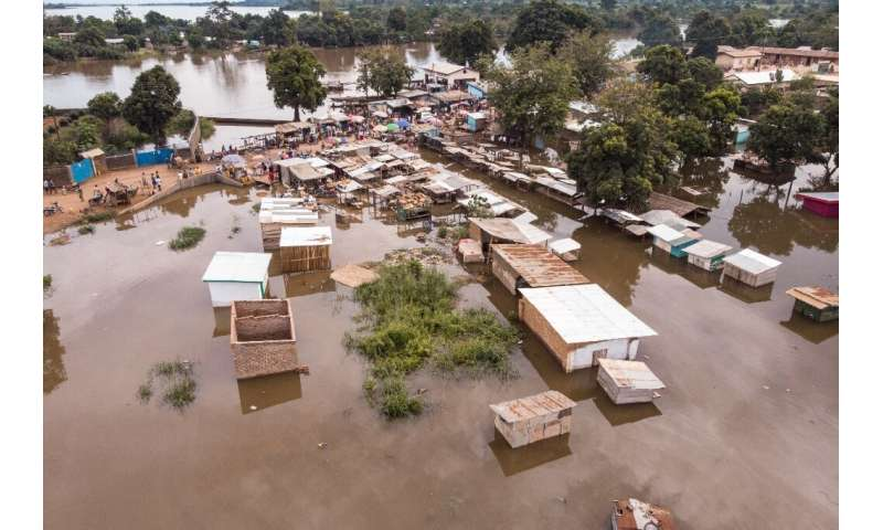 In the capital Bangui, with a population of about one million, mud homes have literally dissolved in the floods