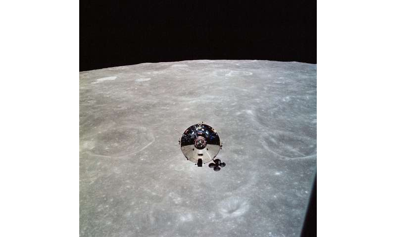 In this May 22, 1969, image obtained from NASA, the Apollo 10 command module is seen from the lunar module (LM) after separation