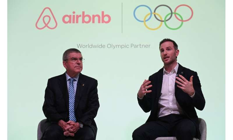 IOC President Thomas Bach (L) announced the deal at a London press conference with Airbnb co-founder Joe Gebbia Tuesday