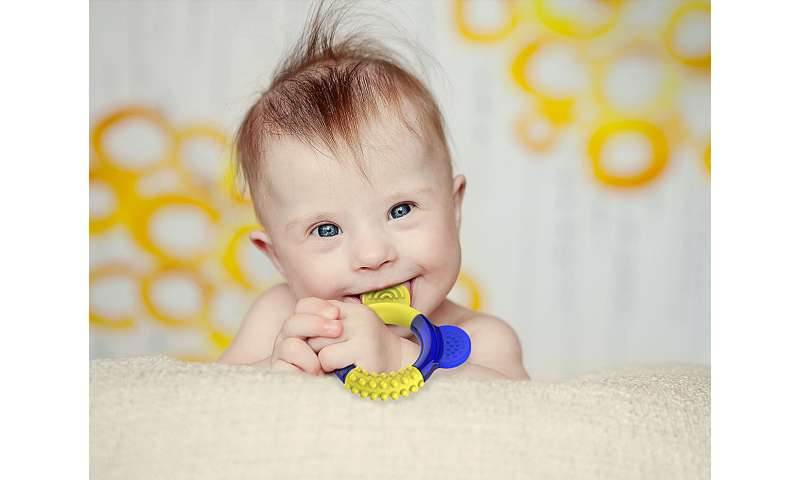 Jaw-strengthening teether designed for children with Down syndrome