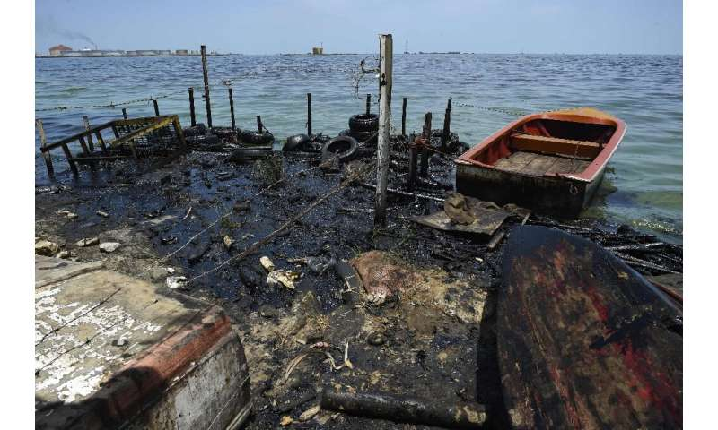 Lake Maracaibo in Venezuela has been badly polluted due to dilapidated oil wells and piplines