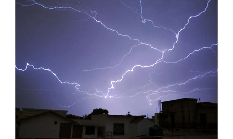 Lightning strikes - shown here during a thunderstorm in the Pakistani capital in 2016 - have killed 18 people in the Thar desert