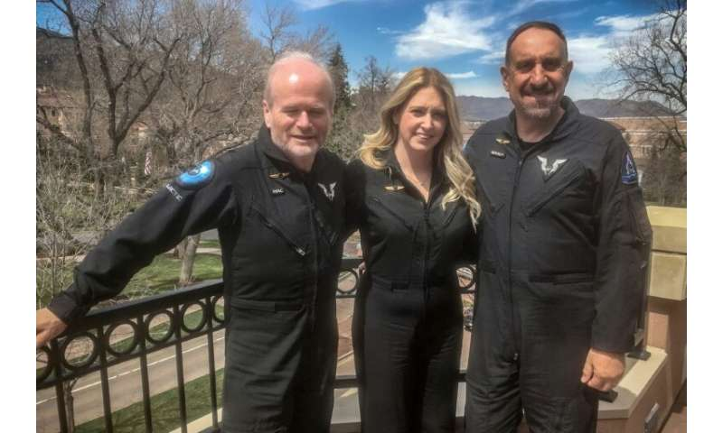 """(L-R) Dave Mackay, Beth Moses and Mike """"Sooch"""" Masucci in Colorado Springs on April 9, 2019"""