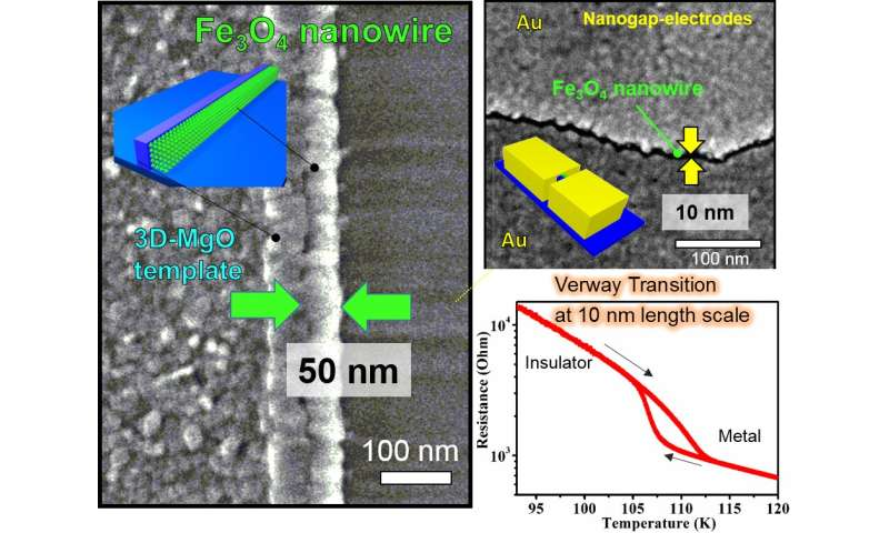 Magnetite nanowires with sharp insulating transition