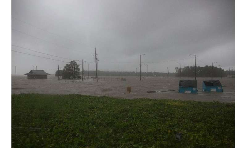 Major storm Barry left a parking lot flooded in Berwick, Louisiana